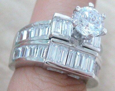 925 STERLING SILVER Baguette CZ Bezel BRIDAL SET ENGAGEMENT & WEDDING Band L N R