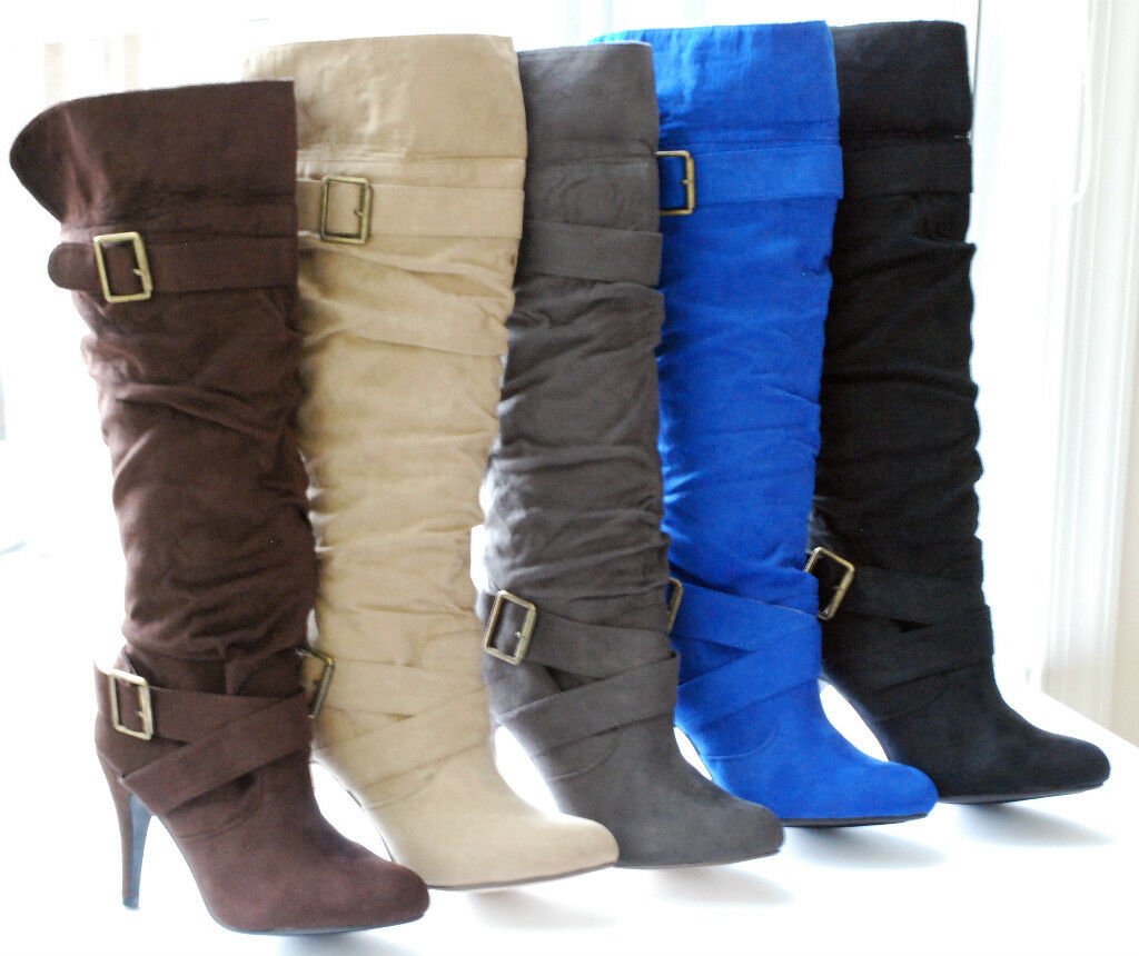Suede Faux Tall Heel Platform Slouch Over Knee Boots