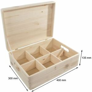 Details About Large Wooden Decorative Lidded Storage Chest Box With 6 Removable Compartments