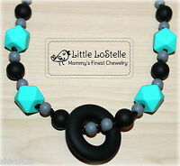 Nursing Jewelry Teething Necklace Silicone Baby Teether Black Gray Turquoise