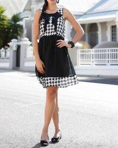 Damen Chiffon Kleid Schwarz Weiss Ebay