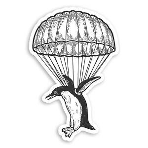 2-x-10cm-Parachuting-Penguin-Vinyl-Stickers-Bird-Funny-Laptop-Sticker-34028