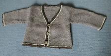Wolljacke glatt handgestrickt Rand V-Ausschnitt natur Hirschhorn ca. Gr 98
