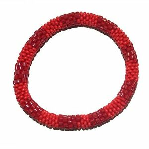 Textured-Red-Crocheted-Beaded-Bracelet-Seed-Beads-Nepal-TB4