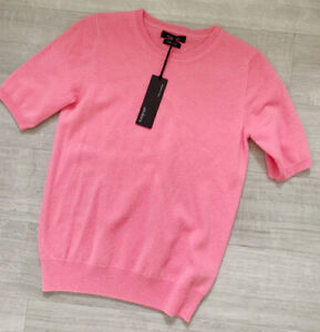 Autograph-Ladies-Cashmere-Jumper-Top-Sz-8-NWT-Pink-Short-Sleeve-Casual-Winter