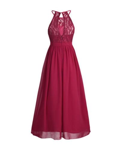 Girls Princess Halter Lace Chiffon Junior Bridesmaid Dress Wedding Pageant Gown