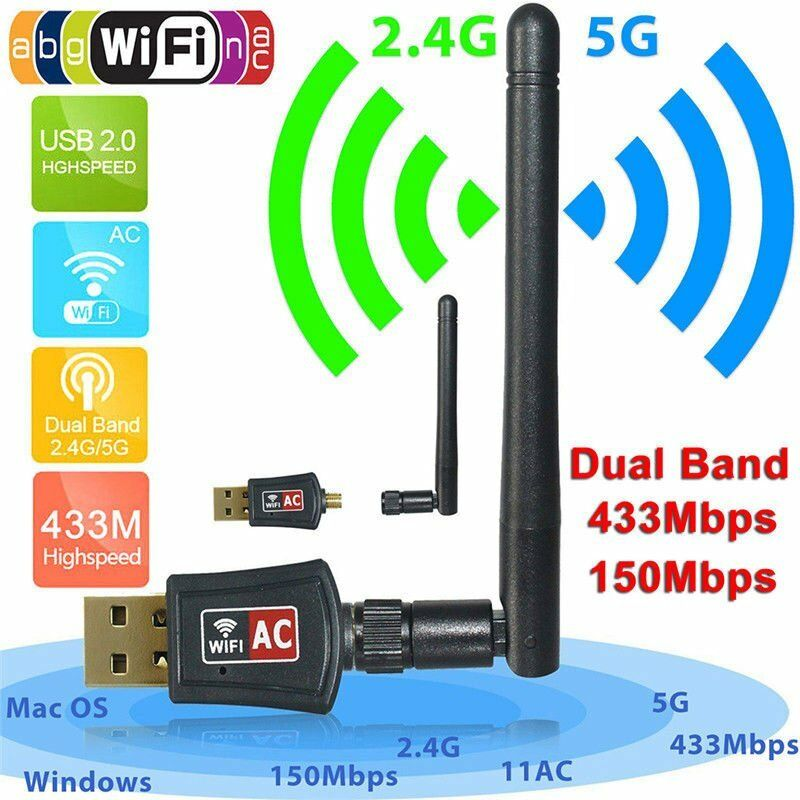 Dual-Band WIFI WLAN Stick Adapter 600 Mbps USB-IEEE 802.11ac/b/g/n 2,4 & 5 GHz