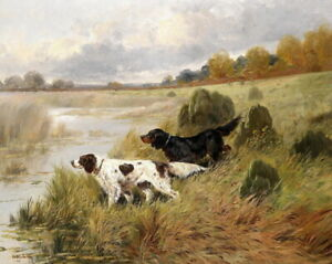 Art-Giclee-Print-Two-Hunting-Dogs-landscape-Oil-painting-Printed-on-Canvas-P433