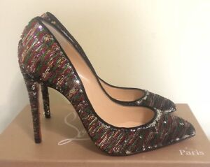 Image is loading AUTHENTIC-CHRISTIAN-LOUBOUTIN-PIGALLE -FOLLIES-SILVER-MULTICOLOR-SEQUIN- 687096fecc93