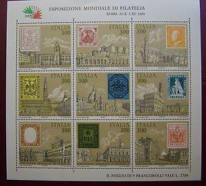 1985  Italia Foglietto Esposizione Mondiale di Filatelia 9 v  300 lire  MNh**
