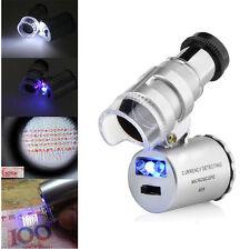 60x Portátil Mini Amplificador Microscopio de bolsillo lupa  joyero LED  luz