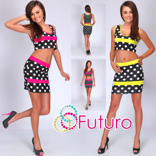 Party Spotted 2 Piece Set Short Top Skirt Clubwear Dress Sizes 8-14 FC1536