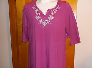 """BRAND NEW """"JUST MY SIZE""""   STUD TUNIC TOP  in a PURPLE TORCH COLOR"""