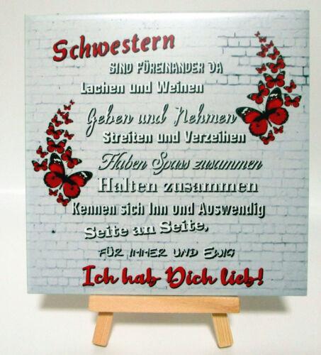 Deko Fliese Schwestern Geschenk Kachel Neu 15x15 cm