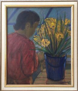 Interior-with-person-and-Flowers-bornemark-SIGNED-Daffodils-64-x-55-cm