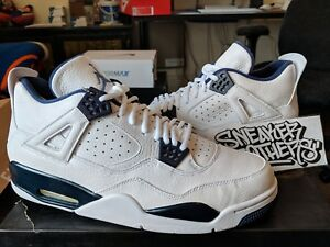 ac42e5d024d779 Nike Air Jordan Retro IV 4 LS White Legend Blue Midnight Navy Men s ...
