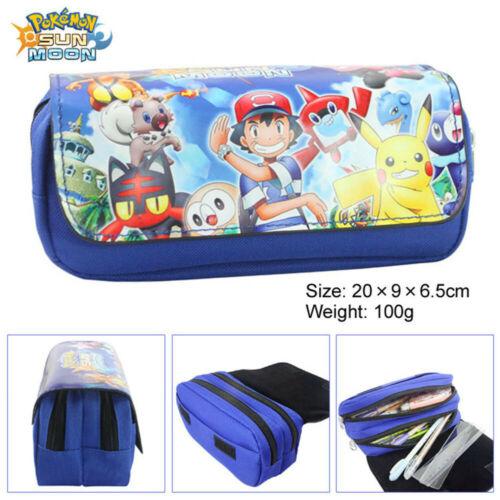 2 Type Squirtle Eevee Gengar Sun /& Moon Pencil Case Bag Make Up BAG