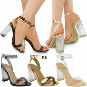 84e4a7aba66322 Image is loading Womens-Ladies-Perspex-Block-High-Heels-Clear-Sandals-