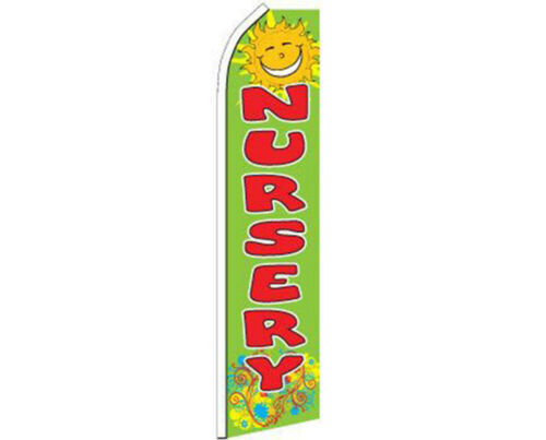Nursery Green With Red Lettering Swooper Super Feather Advertising Flag
