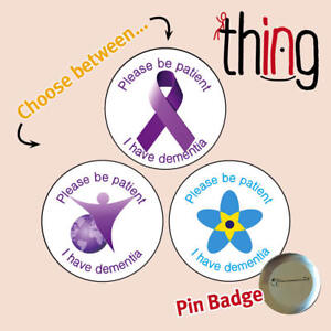 a2dc70ea20e Details about Please Be Patient DEMENTIA/ALZHEIMER'S Awareness Ribbon Metal  Pin Badge - 022