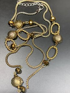 """Vintage VCLM Goldtone Crystal Beaded Ling Sweater Length necklace 34"""" long"""