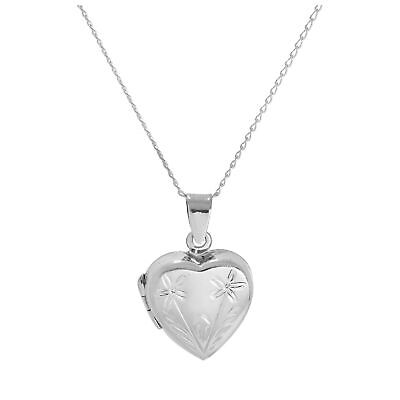 2019 Neuestes Design Sterling Silver Two Flowers Heart Locket On Chain 14 - 32 Inches