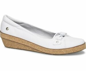 Grasshoppers-Betty-Wedge-White-Cork-Women-039-s-Loafers-Comfort-Slip-On-Shoes