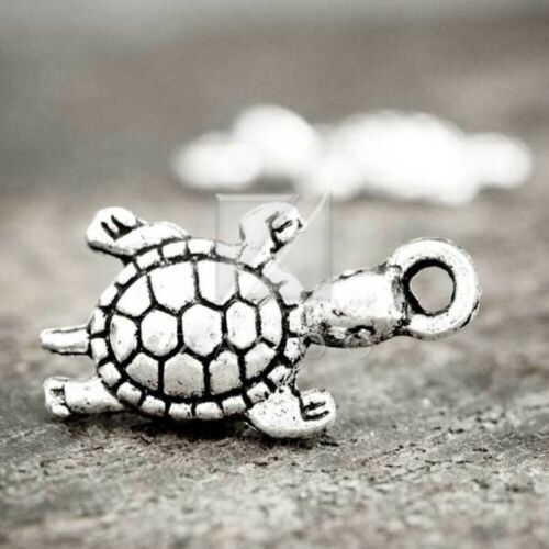 30pcs Tibetan Silver Charm Spacer Pendant Jewellery Findings Turtle 23x10x4mm BW