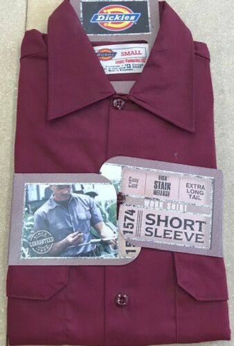 Mens Dickies Twill Work Shirt 1574 Long Tail Burgundy Vintage Rare Color