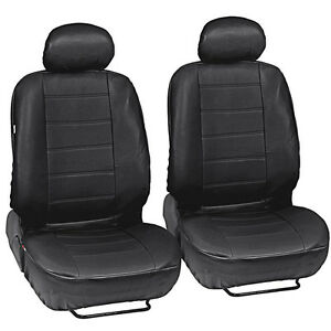 Black-Leatherette-Car-Seat-Covers-Front-Pair-Set-of-2-Faux-Leather-Upholstery