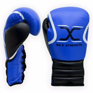 Real Leather Boxing Gloves MMA Fight Laces Punch Bag Mitt Training Martial Arts
