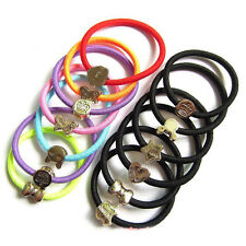 10Pcs Black Womens Elastic Hair Ties Band Ropes Ring Ponytail Holder Accessories