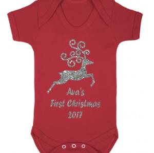 Tu Nombre Personalizado 1st 1st Navidad Navidad Bebé Chaleco Brillo Reno Rudolph
