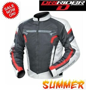 NEW-Dririder-AIR-RIDE-4-Motorcycle-Jacket-VENTED-White-red-Summer-Road-Road