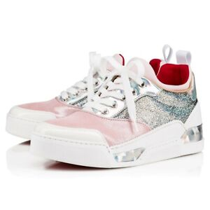Details about Sz 39 Christian Louboutin Aurelien Donna Pink Sneakers Medium Top Athletic Shoes