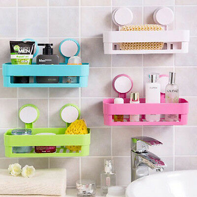 Kitchen Bathroom Suction Storage Rack Corner Shelf Organizer Holder Shower IM