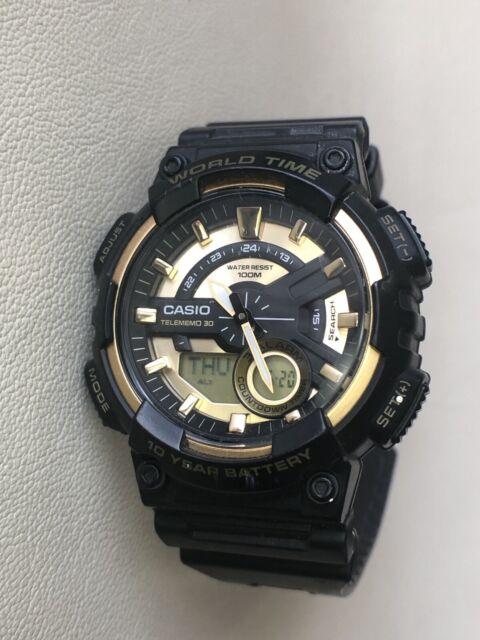 Casio Aeq-110 Telememo 30 World Time 3 Alarm Countdown Timer Watch