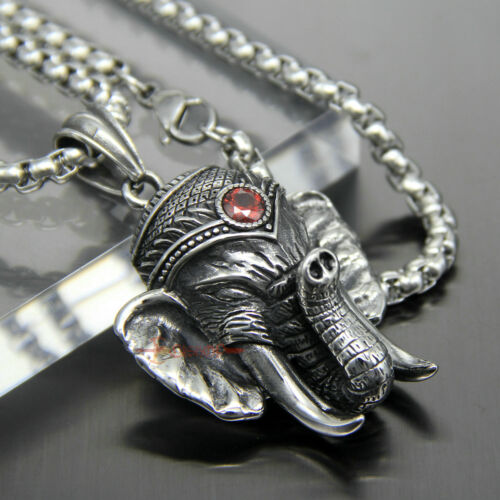 Men/'s Vintage Large Stainless Steel Elephant Necklace Pendant Ruby Red CZ Stone