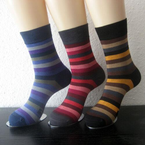3 Paar Damen Bambus Socken weicher Rand ohne Gummi bunt gestreift 35 bis 42 Fb.1