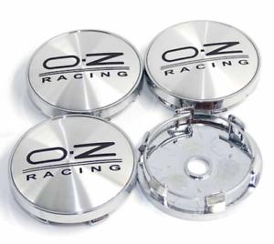 OZ-Racing-4-x-60mm-Silber-Schwarz-Chrome-Alufelge-Nabenkappen-Nabendeckel