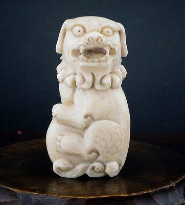 Good Quality Antique Japanese Okimono Netsuke Shishi Lion Dog Meiji 19thC Signed