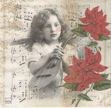 2 Serviettes en papier Ange Musique Poinsettia - Paper Napkins Heavenly Music