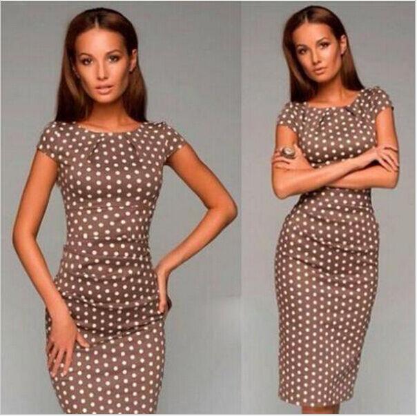 women sexy dresses summer casual o-neck dot print elegant Part evening club 2015