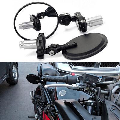 """Blue Motorcycle CNC Bar End 7//8/"""" rear Mirror Round Ducati Yamaha harley BMW KTM"""