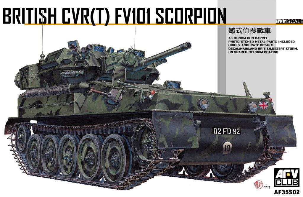 AFV Club 1 35 AF35S02 CVR(T) FV101 Scorpion + Aluminum Gun Barrel + Eduard Etch