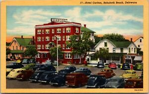 Hotel-Carlton-Building-Old-Cars-Rehoboth-Beach-Delaware-Vintage-W-B-Postcard