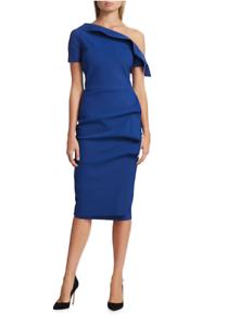 La Petite Robe Chiara Boni Arabela Draped One Shoulder Blue Dress 8 44 Italy Ebay