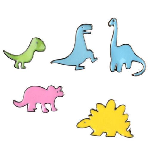 5PCS Cartoon Dinosaur Enamel Shirt Collar Pins Badge Corsage Brooch Jewelry GiHR