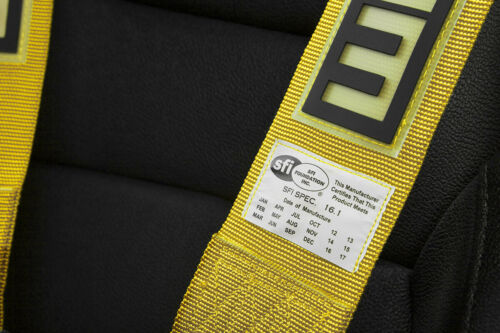 "BRAUM Racing YELLOW 5 Point 3/"" Inch SFI Certified 16.1 Racing Harness Single New"