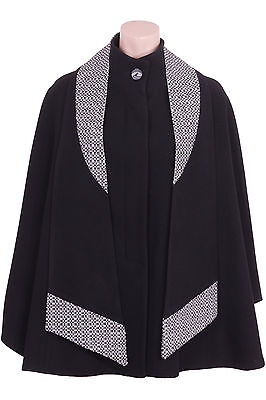Busy Womens Black Wool Blend Cape with Detachable Scarf